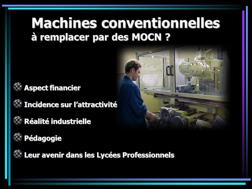 Machines conventionnelles à remplacer par des MOCN
