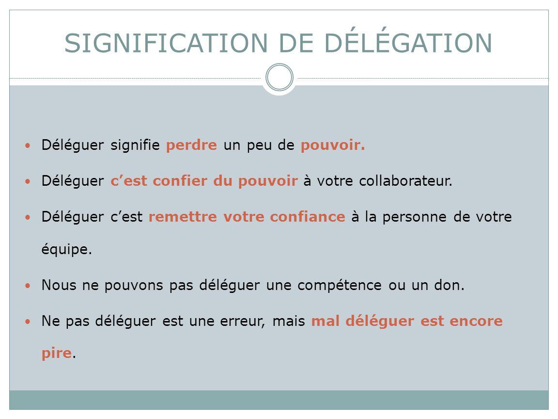 SIGNIFICATION DE DÉLÉGATION