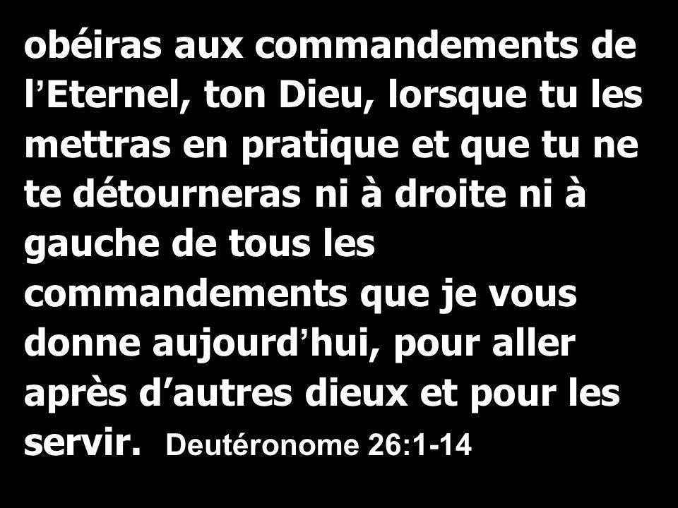 obéiras aux commandements de l'Eternel, ton Dieu, lorsque tu les mettras en pratique et que tu ne te détourneras ni à droite ni à gauche de tous les commandements que je vous donne aujourd'hui, pour aller après d'autres dieux et pour les servir.