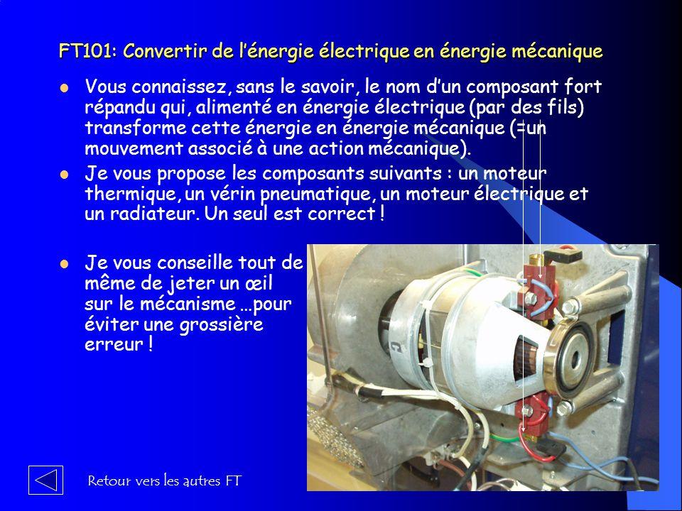 FT101: Convertir de l'énergie électrique en énergie mécanique