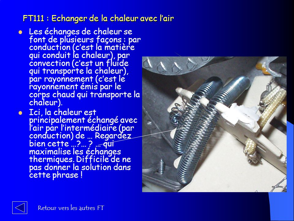 FT111 : Echanger de la chaleur avec l'air