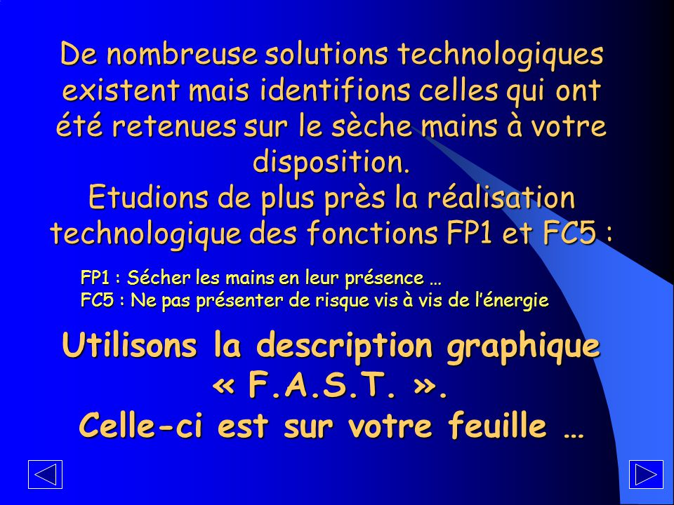 Utilisons la description graphique « F.A.S.T. ».