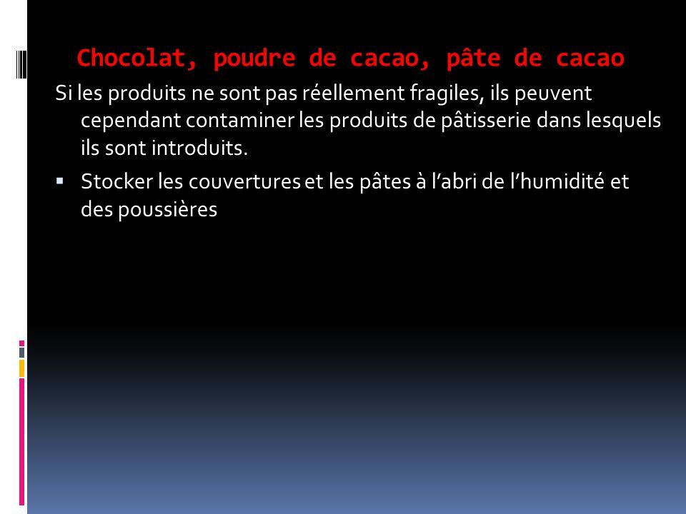 Chocolat, poudre de cacao, pâte de cacao