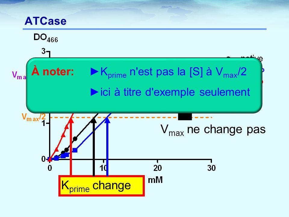 Vmax ne change pas Kprime change ATCase