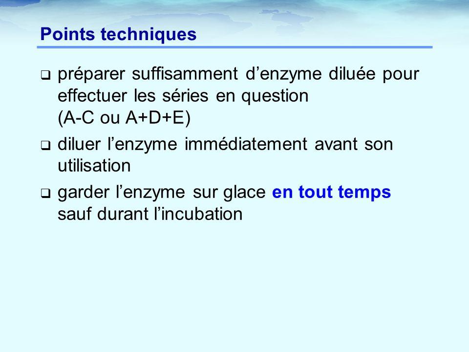 Points techniques préparer suffisamment d'enzyme diluée pour effectuer les séries en question (A-C ou A+D+E)