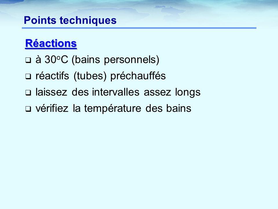 Points techniques Réactions. à 30oC (bains personnels) réactifs (tubes) préchauffés. laissez des intervalles assez longs.