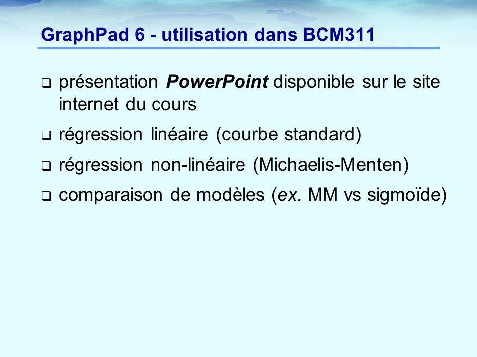 GraphPad 6 - utilisation dans BCM311