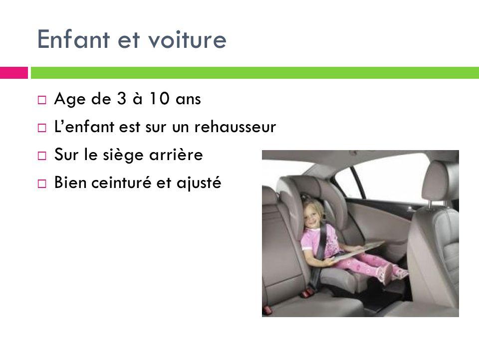 Enfant et voiture Age de 3 à 10 ans L'enfant est sur un rehausseur