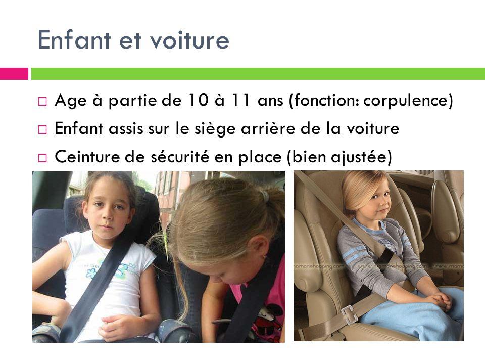 Enfant et voiture Age à partie de 10 à 11 ans (fonction: corpulence)