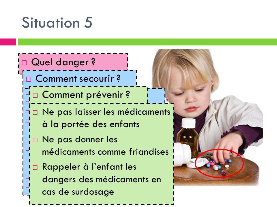 Situation 5 Quel danger Comment secourir Comment prévenir