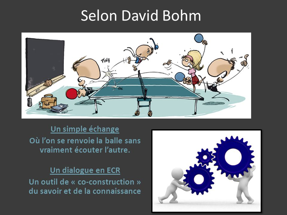 Selon David Bohm Un simple échange