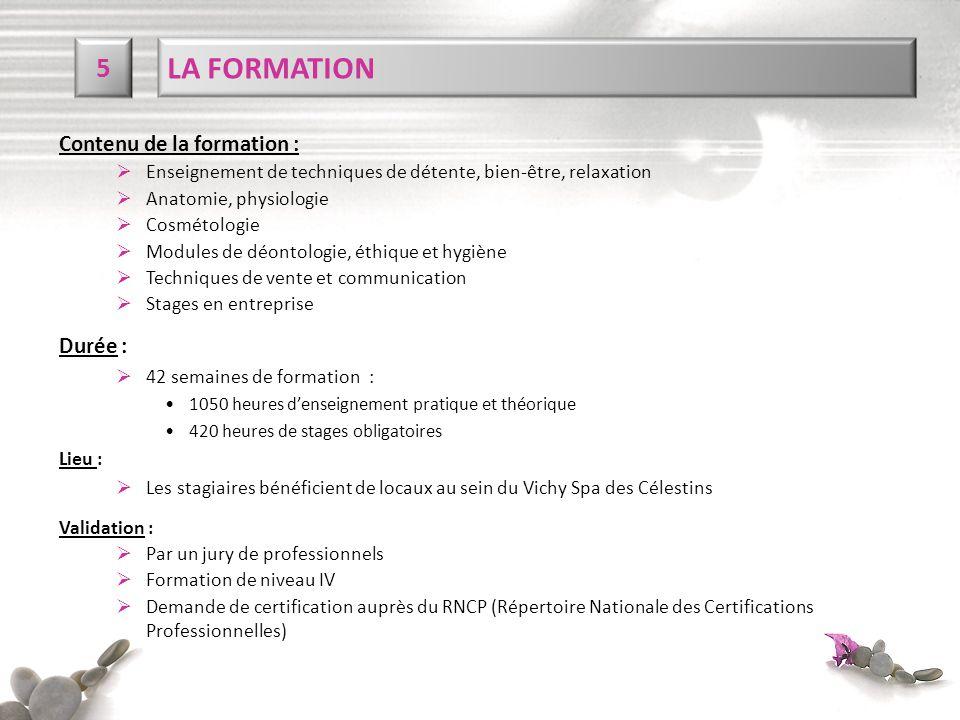 LA FORMATION 5 Contenu de la formation : Durée :