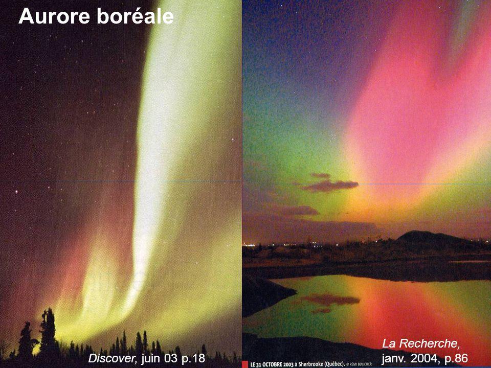 Aurore boréale La Recherche, janv. 2004, p.86 Discover, juin 03 p.18