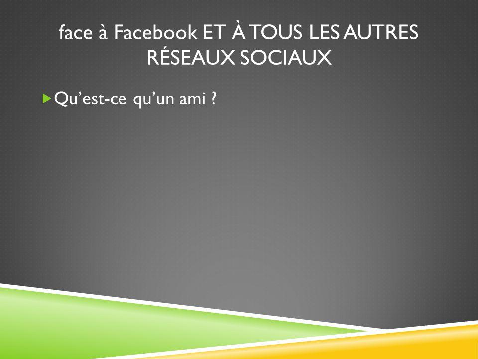 face à Facebook ET À TOUS LES AUTRES RÉSEAUX SOCIAUX