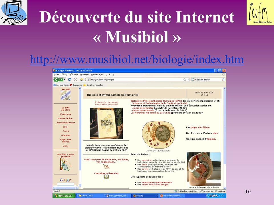 Découverte du site Internet « Musibiol »