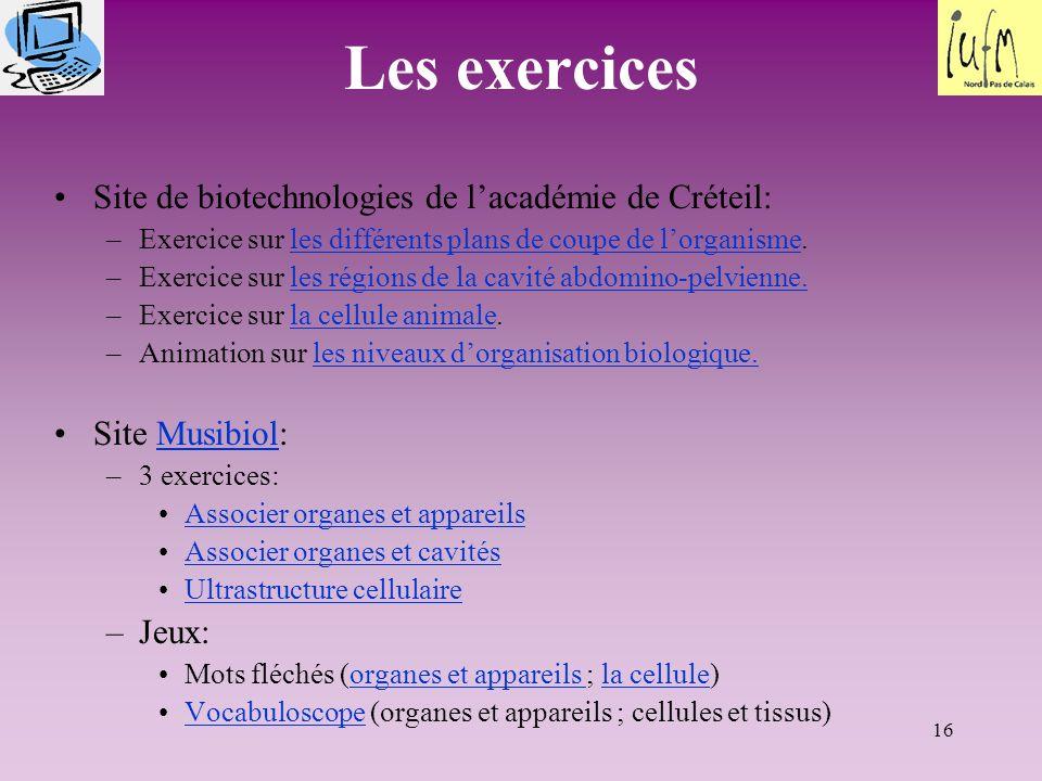 Les exercices Site de biotechnologies de l'académie de Créteil: