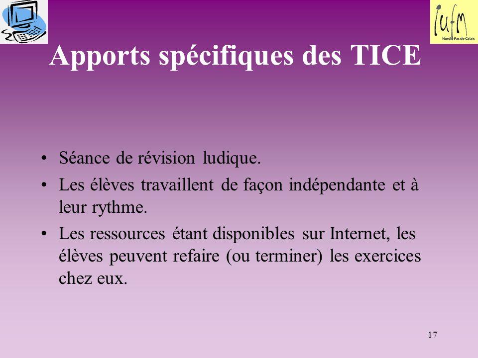 Apports spécifiques des TICE