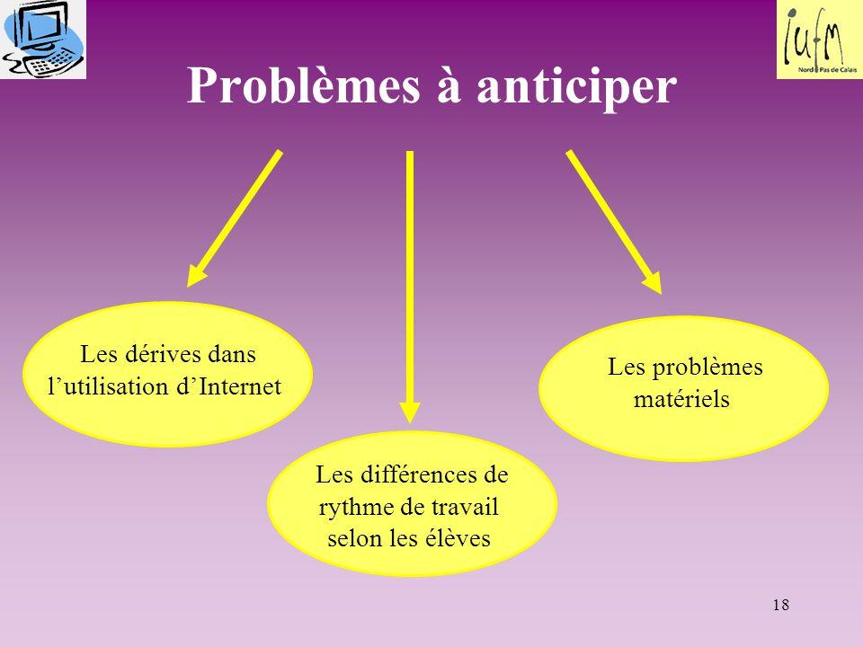 Problèmes à anticiper Les dérives dans l'utilisation d'Internet