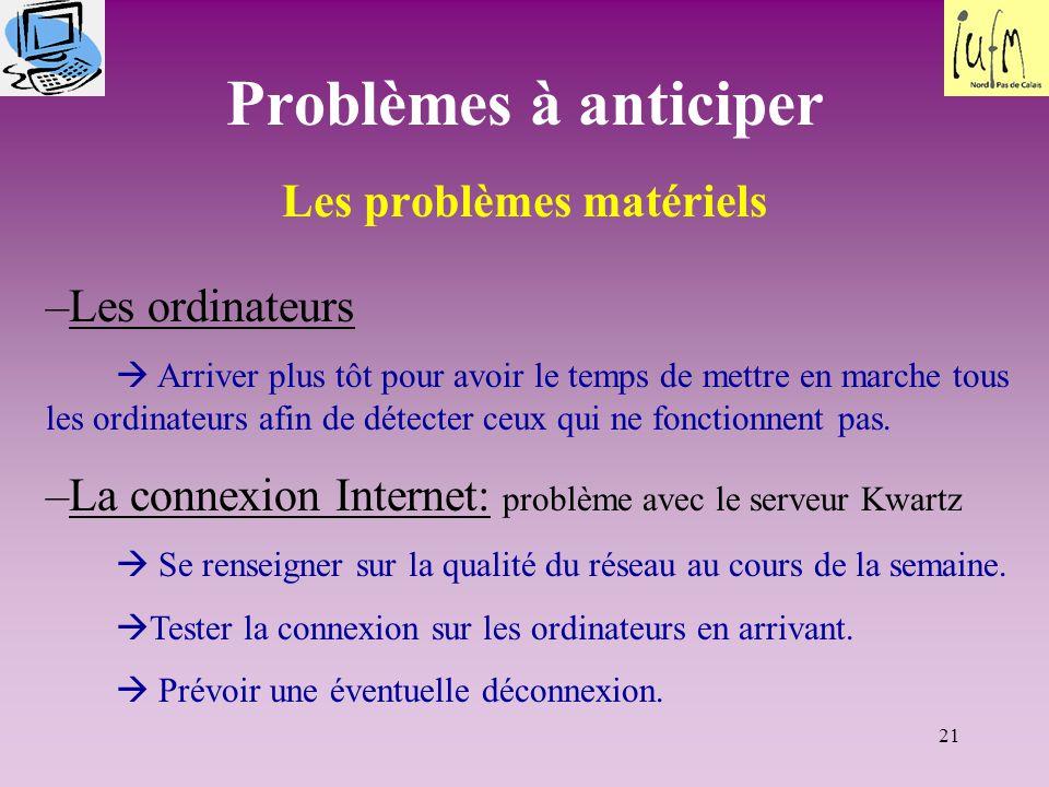 Les problèmes matériels