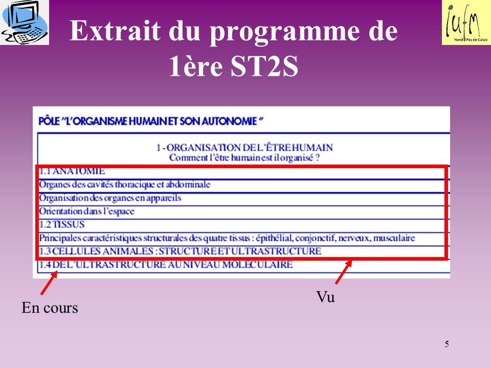 Extrait du programme de 1ère ST2S