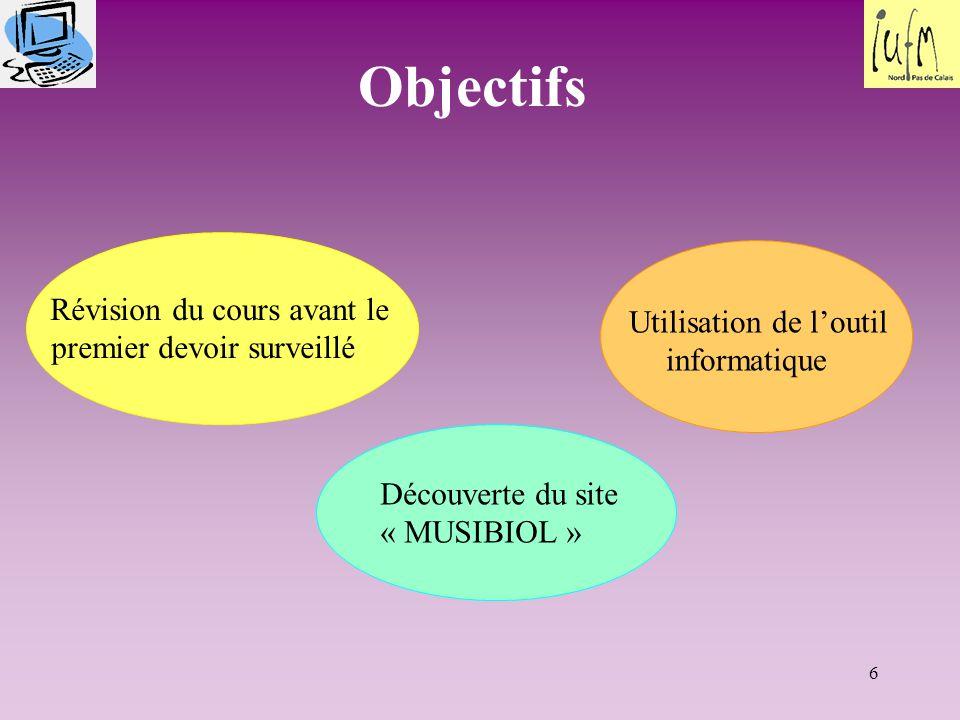 Objectifs Révision du cours avant le premier devoir surveillé