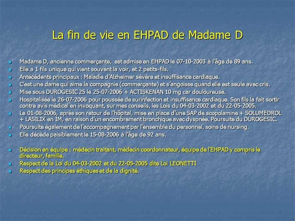 La fin de vie en EHPAD de Madame D