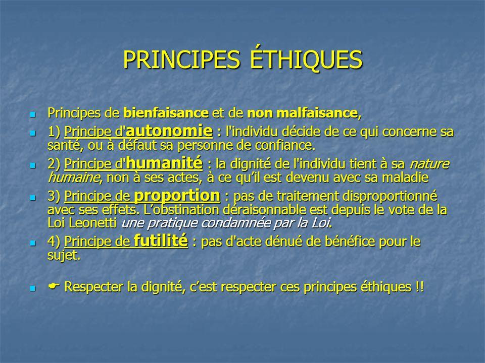PRINCIPES ÉTHIQUES Principes de bienfaisance et de non malfaisance,