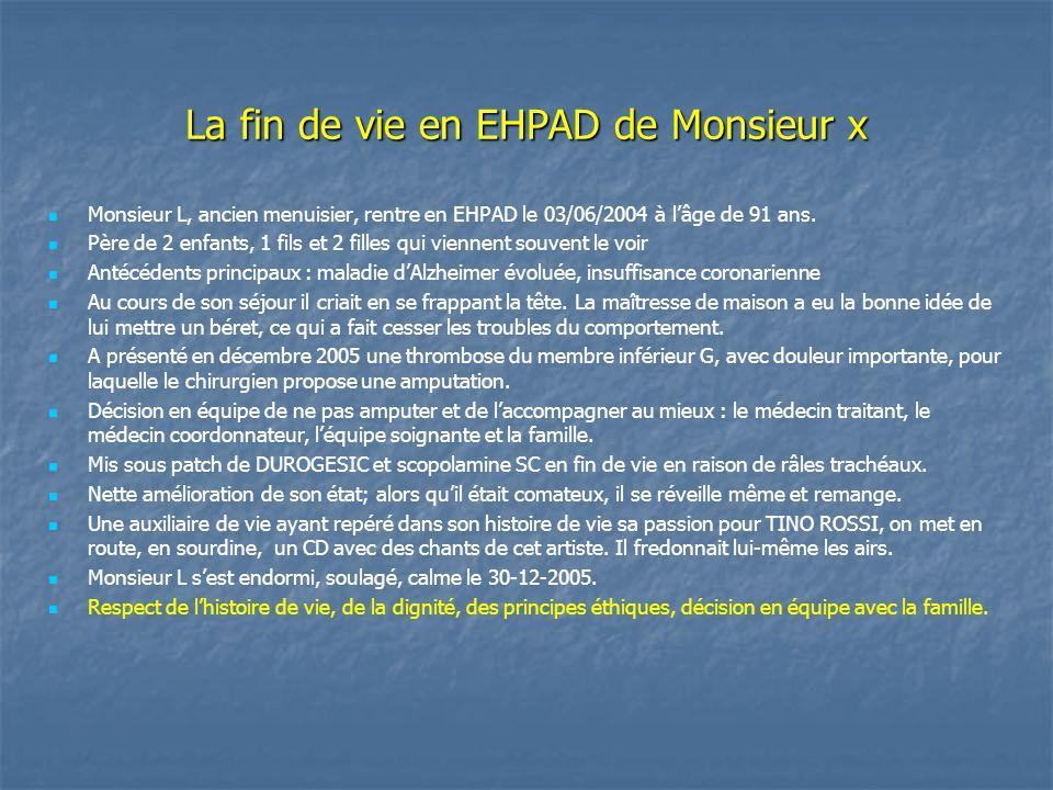 La fin de vie en EHPAD de Monsieur x