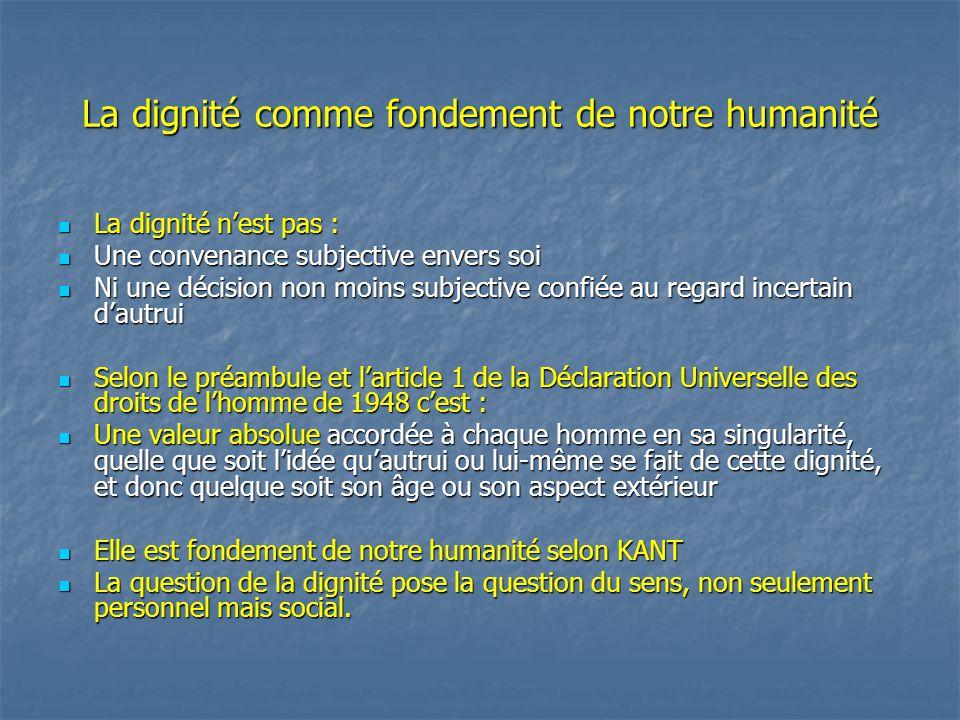 La dignité comme fondement de notre humanité