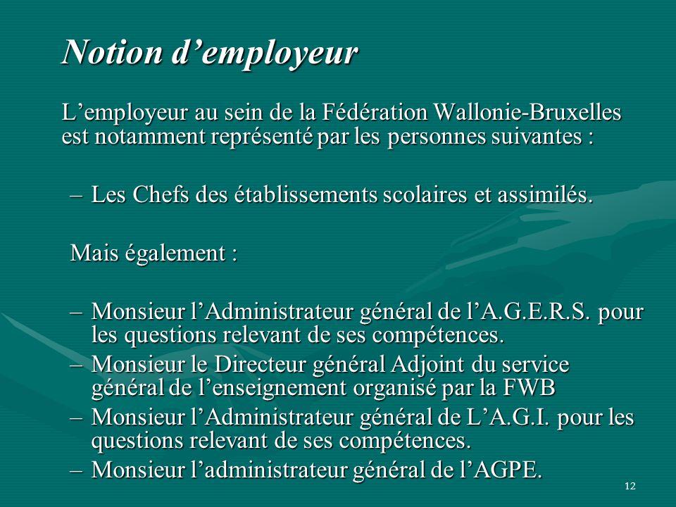 Notion d'employeur L'employeur au sein de la Fédération Wallonie-Bruxelles est notamment représenté par les personnes suivantes :