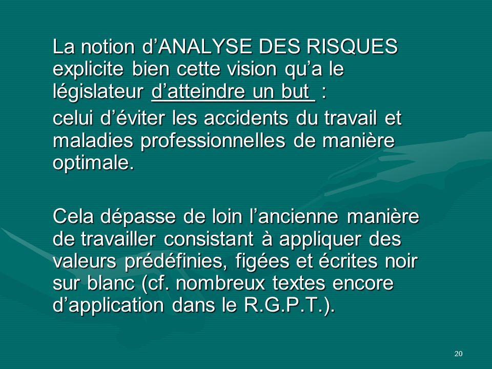La notion d'ANALYSE DES RISQUES explicite bien cette vision qu'a le législateur d'atteindre un but :