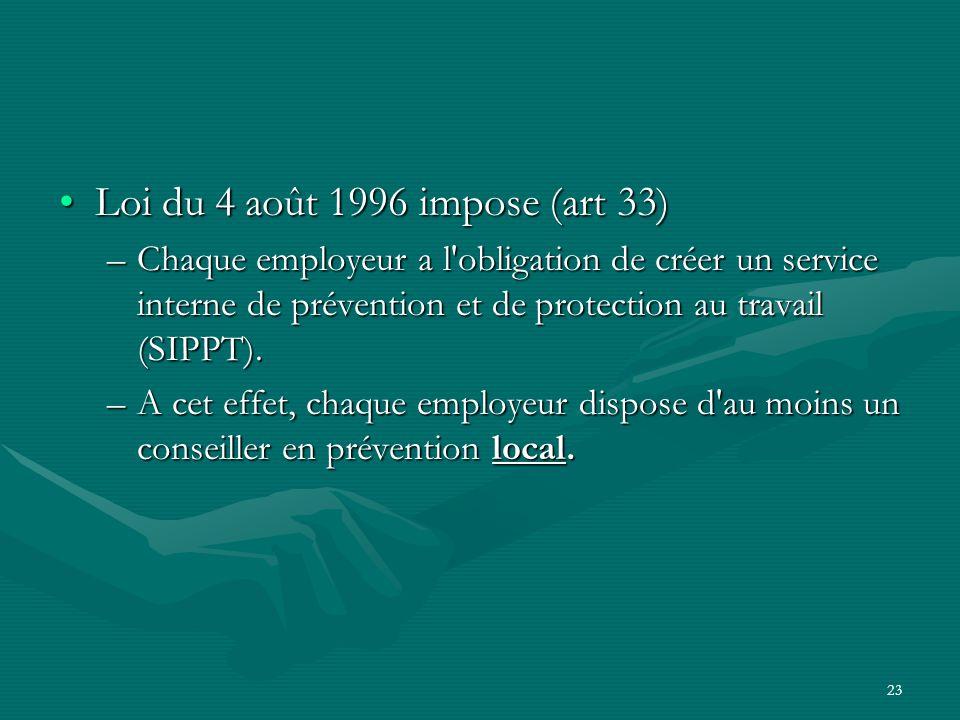 Loi du 4 août 1996 impose (art 33)