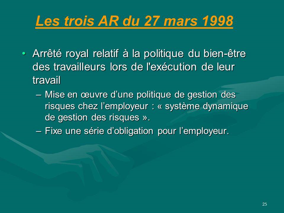 Les trois AR du 27 mars 1998 Arrêté royal relatif à la politique du bien-être des travailleurs lors de l exécution de leur travail.