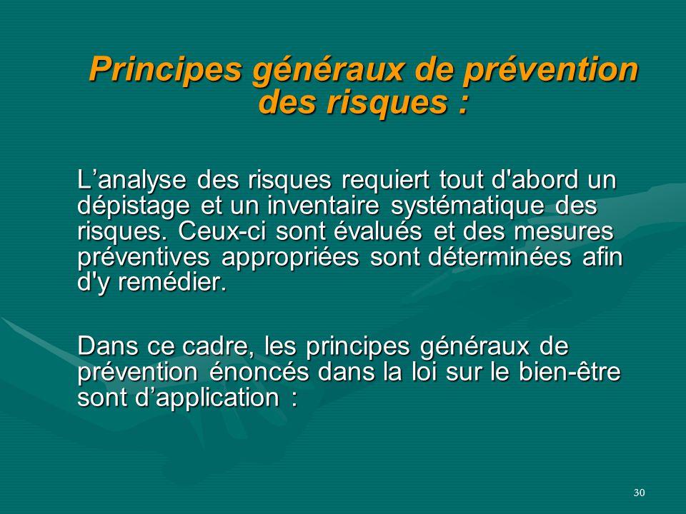 Principes généraux de prévention des risques :