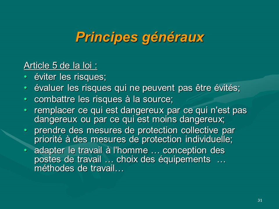 Principes généraux Article 5 de la loi : éviter les risques;