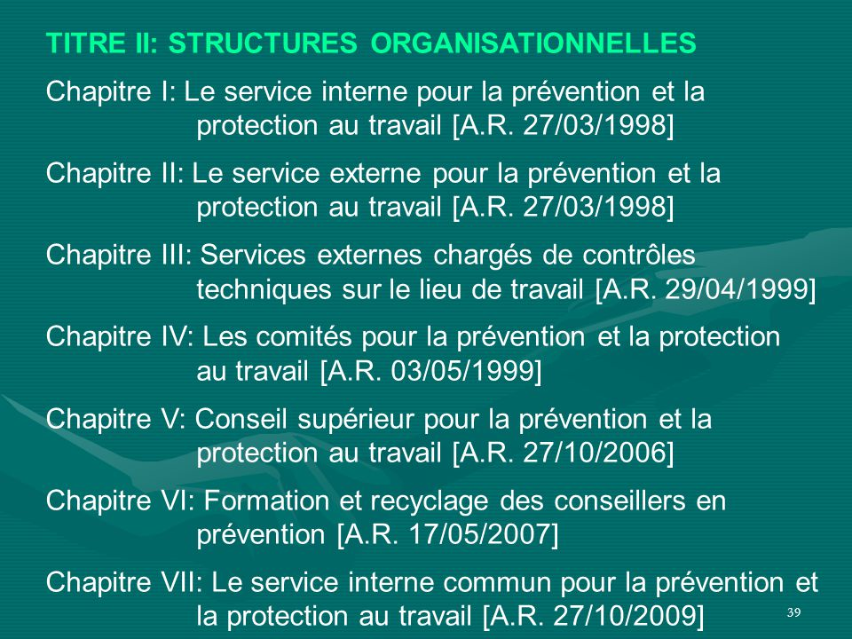 TITRE II: STRUCTURES ORGANISATIONNELLES