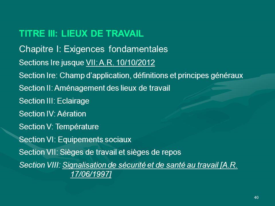 TITRE III: LIEUX DE TRAVAIL Chapitre I: Exigences fondamentales