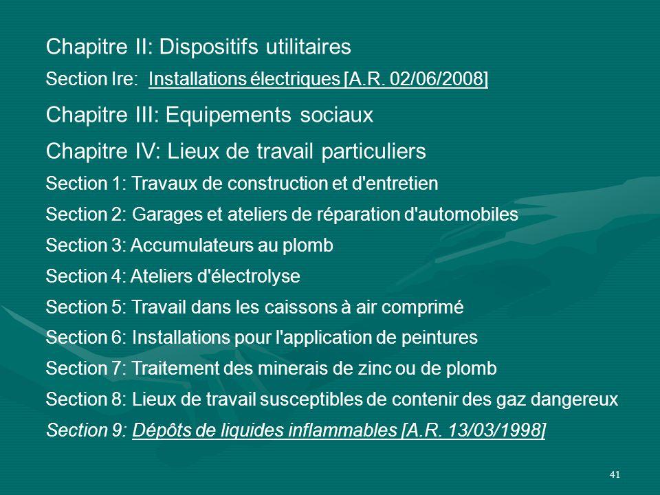 Chapitre II: Dispositifs utilitaires Chapitre III: Equipements sociaux