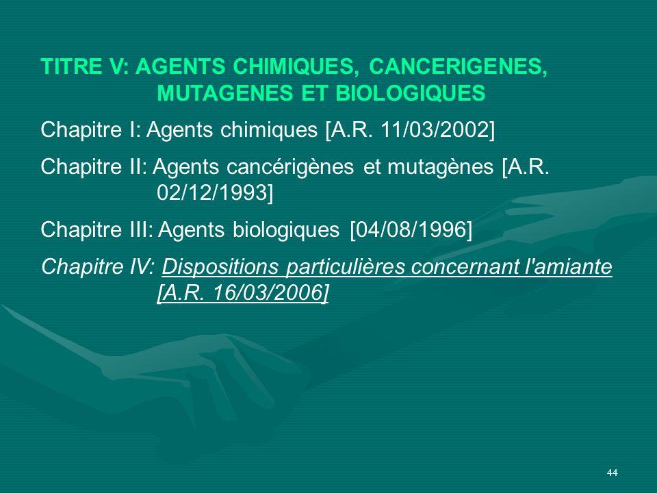 TITRE V: AGENTS CHIMIQUES, CANCERIGENES, MUTAGENES ET BIOLOGIQUES