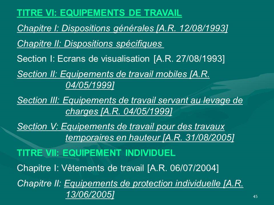 TITRE VI: EQUIPEMENTS DE TRAVAIL