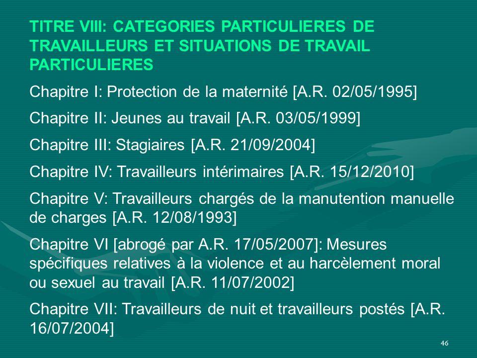 TITRE VIII: CATEGORIES PARTICULIERES DE TRAVAILLEURS ET SITUATIONS DE TRAVAIL PARTICULIERES