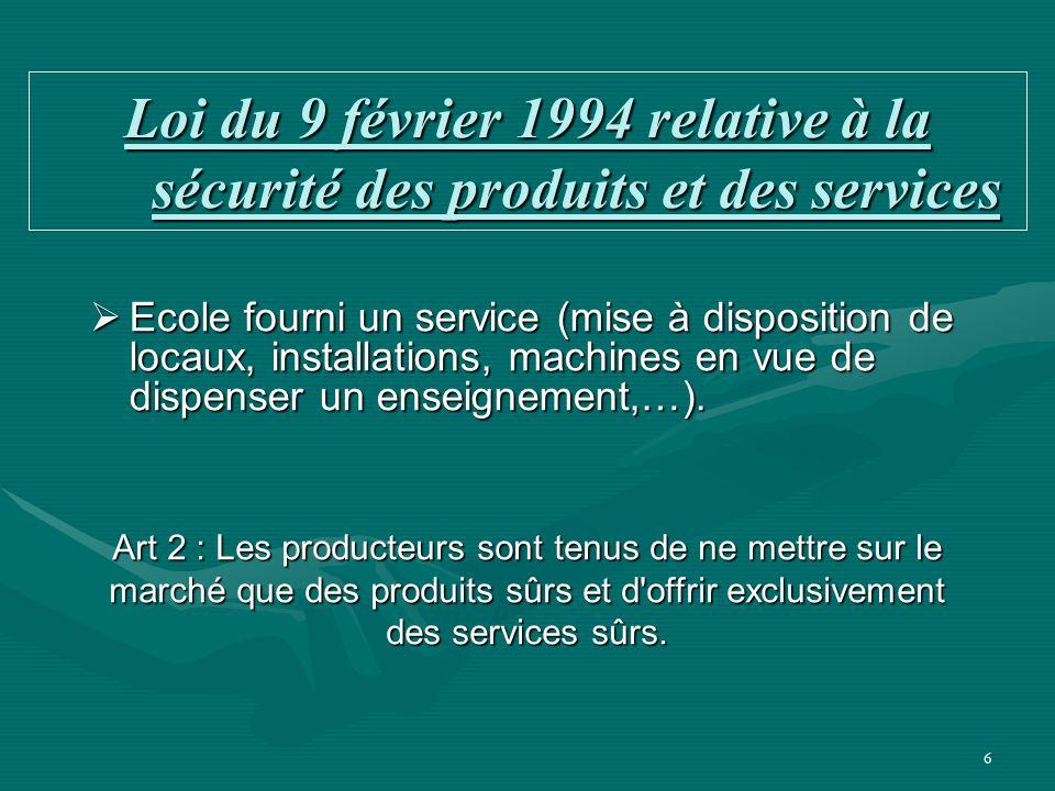 Loi du 9 février 1994 relative à la sécurité des produits et des services