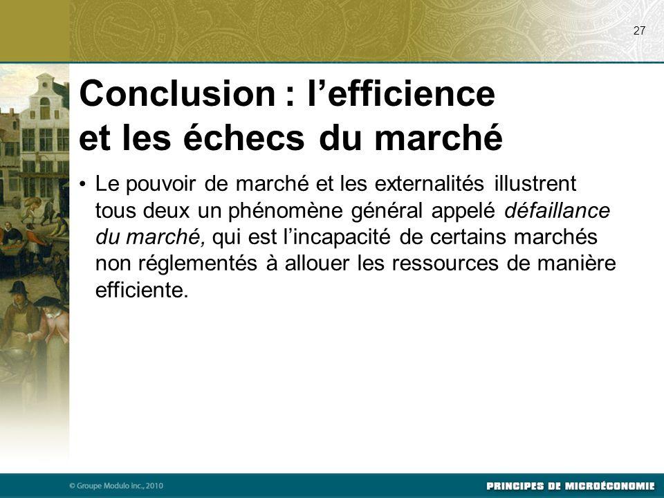 Conclusion : l'efficience et les échecs du marché