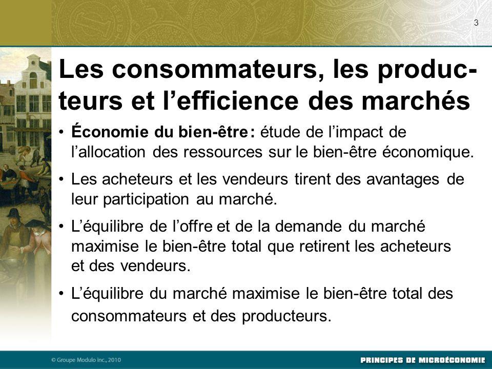 Les consommateurs, les produc-teurs et l'efficience des marchés