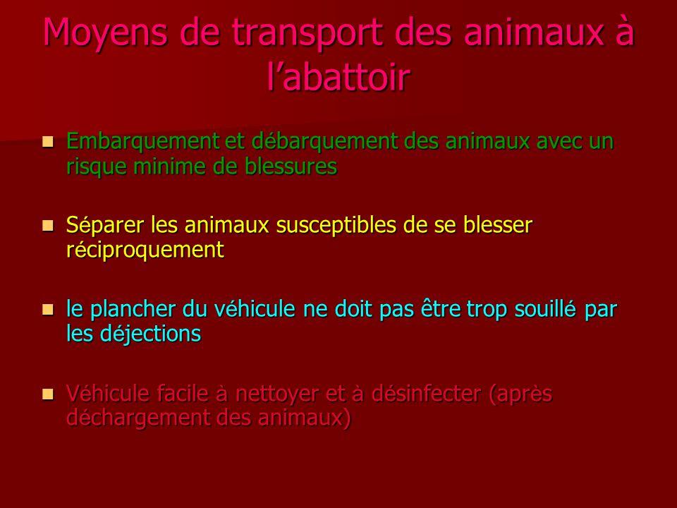 Moyens de transport des animaux à l'abattoir