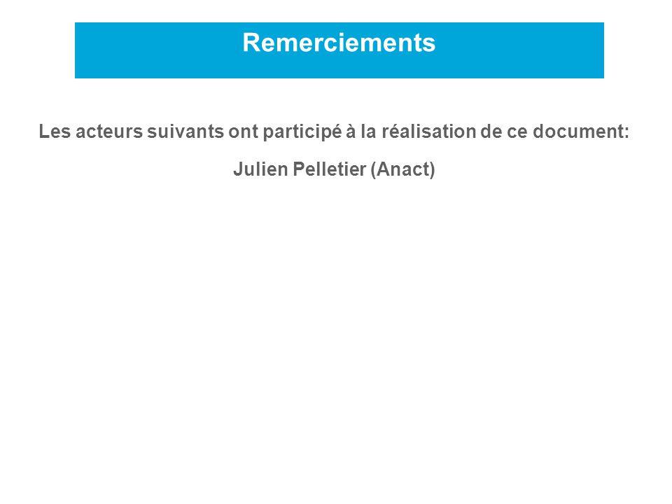 Remerciements Les acteurs suivants ont participé à la réalisation de ce document: Julien Pelletier (Anact)