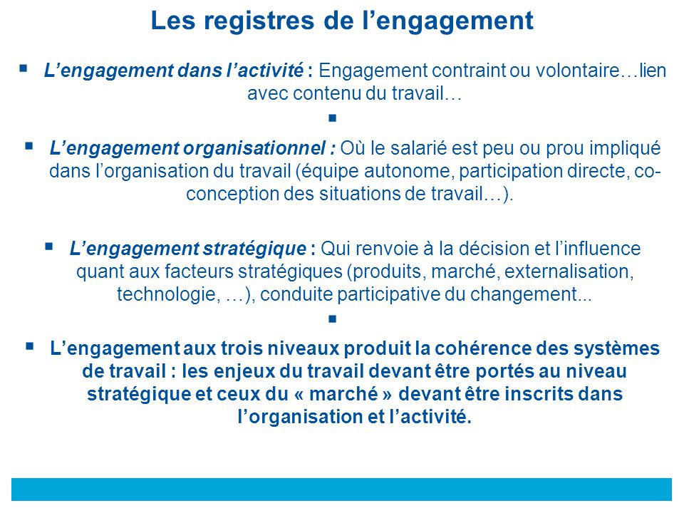 Les registres de l'engagement