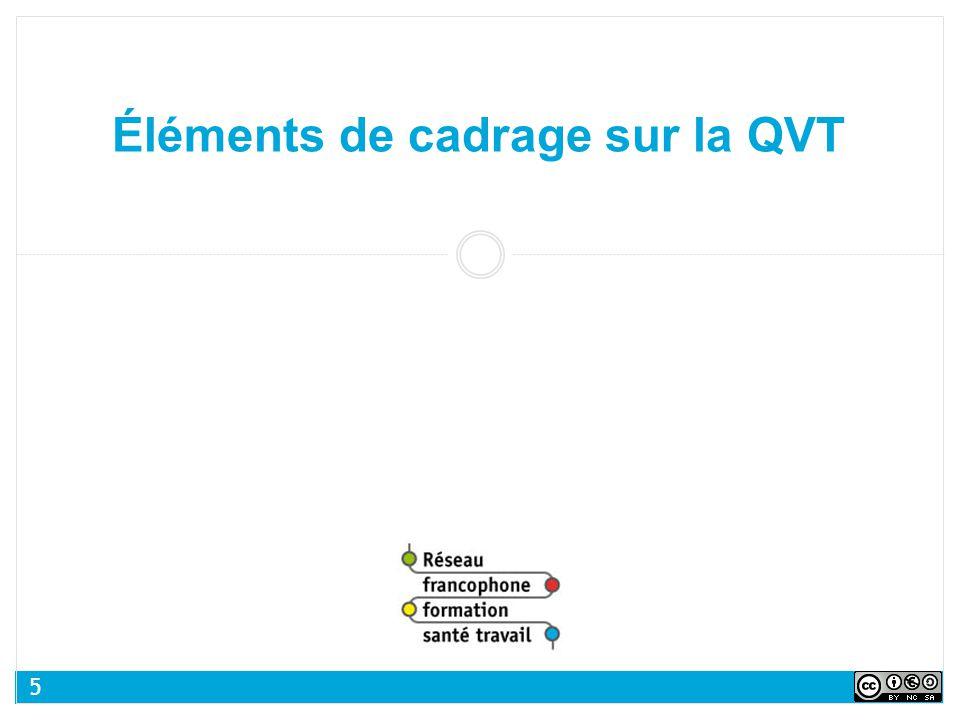 Éléments de cadrage sur la QVT