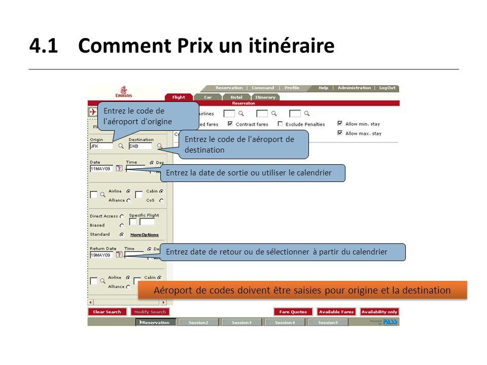 4.1 Comment Prix un itinéraire