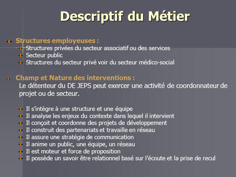 Descriptif du Métier Structures employeuses :
